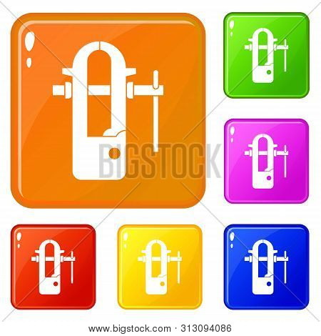 Blacksmiths vice icons set collection 6 color isolated on white background poster
