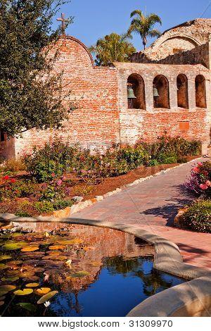 Fountain Pool Bells Mission San Juan Capistrano Ruins California