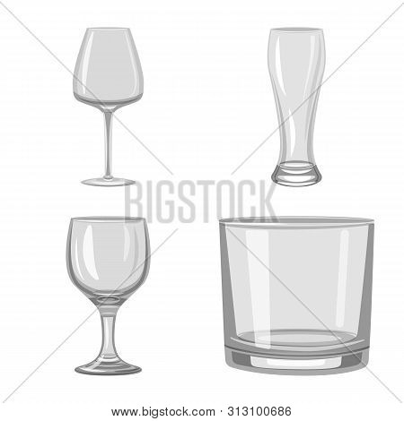 Vector Illustration Of Capacity And Glassware Icon. Collection Of Capacity And Restaurant Vector Ico