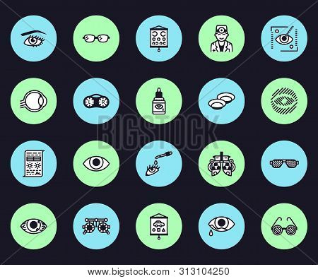 Ophthalmology, Eyes Health Care Vector Line Icons. Optometrist Equipment, Contact Lenses, Glasses, B