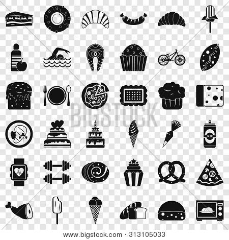 Calories in food icons set. Simple style of 36 calories in food icons for web for any design poster