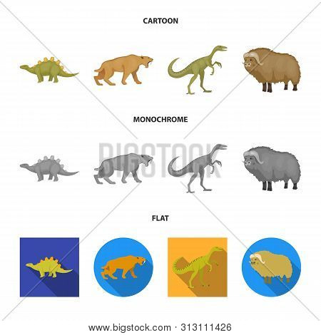 Isolated Object Of Animal And Character Logo. Set Of Animal And Ancient Stock Vector Illustration.