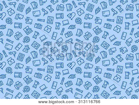 Household Appliances, Electronics Store Seamless Pattern With Line Icon. Vector Illustration Flat St