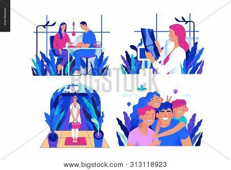 poster of Set of medical insurance illustrations -blood test, x-ray test, home medical assistance, family insurance -modern flat vector concept digital illustrations, insurance plan metaphor