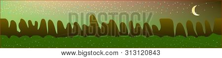 Fancy Sky, And Mountains Landscape. Panoramic Horizontal Design. Trendy Panoramic Design. New Glass