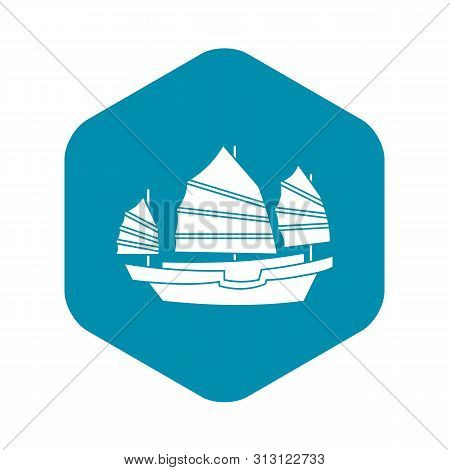Junk Boat Icon. Simple Illustration Of Junk Boat Icon For Web