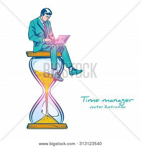 Time Management Drawing Sketch Control. Vector Illustration Cartoon Design. Isolated On Background.