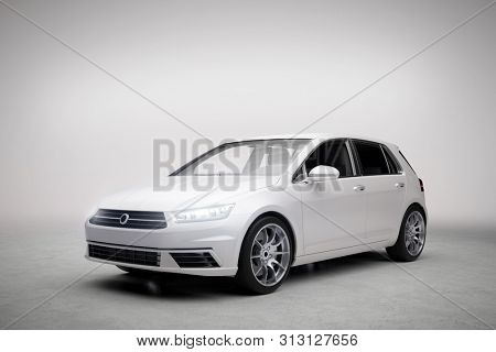 Modern compact car in light garage. Rent a car and vehicle fleet concepts. Generic and brandless yet contemporary and elegant look. 3D illustration