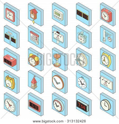 Timepiece Icons Set. Isometric Set Of 25 Timepiece Icons For Web Isolated On White Background