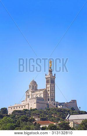 Marseille Notre Dame De La Garde View From The Hill Blue Sunny Sky