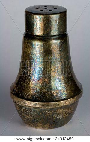 Tarnished Silver Salt Shaker