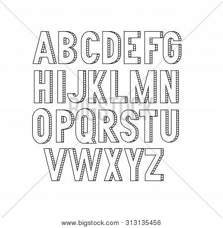 Vector Bold Condensed Slim Thin Grotesque Font. Uppercase Letters Only