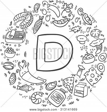 Vitamin D Doodles In Circle. Hand Drawn Illustration Of Different Food Rich Of Vitamin D. Vector Ill