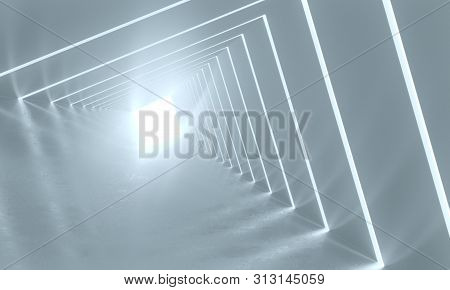 Abstract Background With Symmetric White Tunnel Interior. 3d Rendering