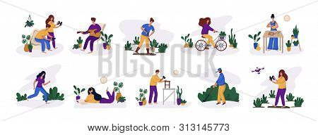 People - Man And Woman And Their Hobby Or Daily Activity, Free Time Concept - Music, Gardening, Game
