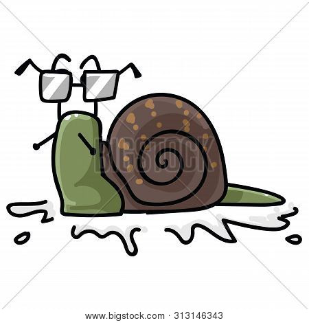 Cute Snail With Glasses Character Cartoon Vector Illustration Motif Set. Hand Drawn Isolated Spectac