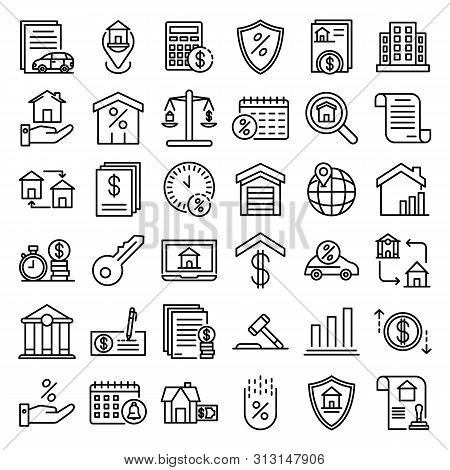 Mortgage Icons Set. Outline Set Of Mortgage Icons For Web Design Isolated On White Background