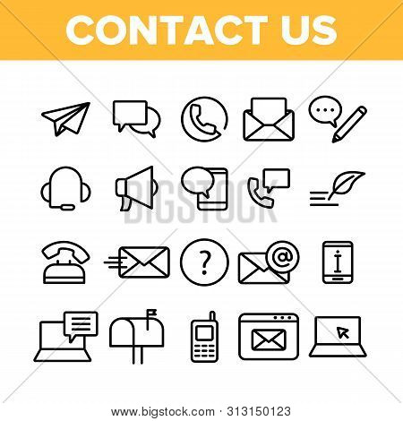 Contact Us, Call Center Vector Linear Icons Set. Customer Support Service, Contact Us Outline Clipar