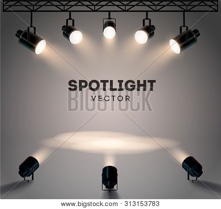 Spotlights With Bright White Light Shining Stage Vector Set. Illuminated Effect Form Projector, Illu