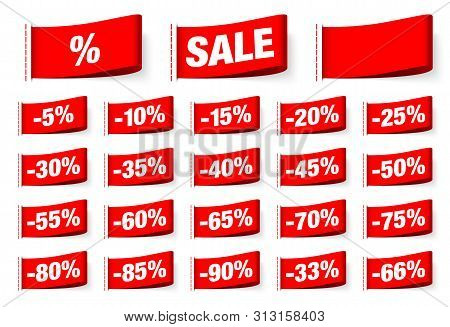 Set Of Red Textile Labels Sale With Seam