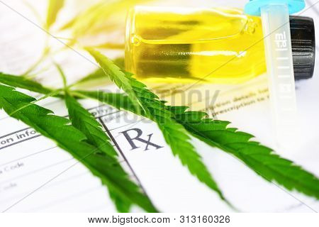 Dispensary Medical Marijuana Leaf And Cbd Oil Cannabis Plant Hemp Extract Medical Healthcare Natural