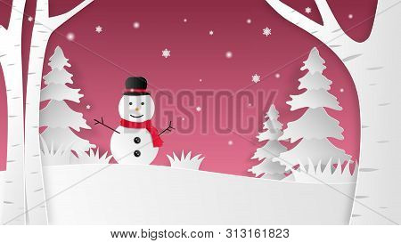 Landscape Of Christmas Winter Background With Happy Snowman On Snow Field In Paper Cut Style. Vector