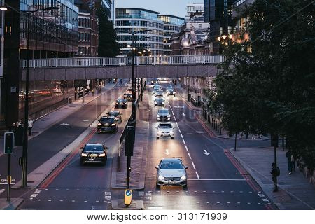 London, Uk - June 22, 2019: High Angle View Of Traffic On A Street In London, Uk, In The Evening, Se