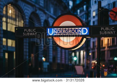 London, Uk - June 22, 2019: London Underground Sign At The Entrance Of Bank Station, London, At Nigh