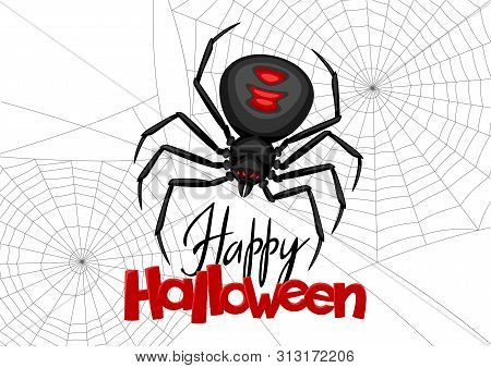 Background With Black Widow Spider. Banner For Happy Halloween Holiday.