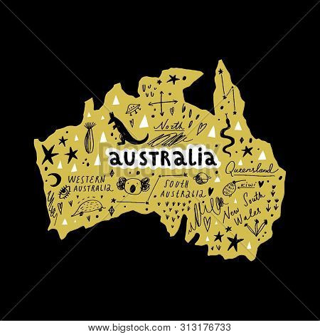 Vector Handdrawn Stylized Map Of Australia. Travel Doodle Illustration With Landmarks And Animals