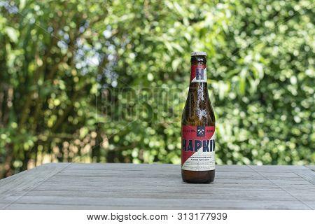 Sint Gillis Waas, 24 July 2019. Belgian Beer. Hapkin Beer. Hapkin Is A Strong Blond Beer Of High Fer