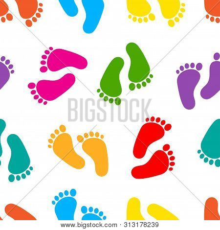 Abstract Seamless Pattern With Colorful Traces Of Human Feet. Footprint Isolated On White Background