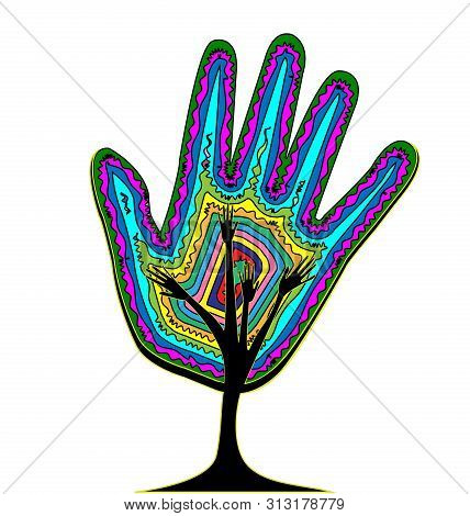White Background And Abstract Color Tree, Lines With Hand