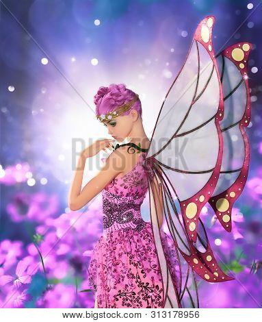 Pixie In Fantasyland,3d Illustration For Book Cover