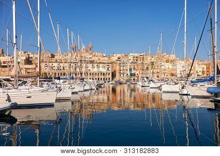 View On Yachts In Malta Bay Dahla Tad-dockyard Between Senglea And Birgu