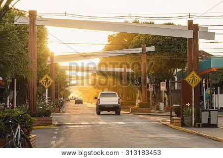 Main Street Of The Downtown Of Bonito Ms, Brazil. Coronel Pilad Rebua Street. Avenue Decorated With