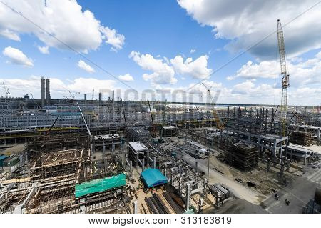 Construction Of A Petrochemical And Oil Refinery Near The City Of Tobolsk In Russia, Workers Working