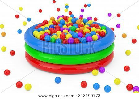 Many Colorful Plastic Balls Falled And Filled Children Pool On A White Background. 3d Rendering