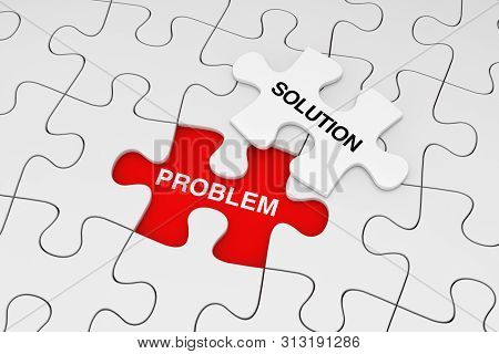 One Piece Of White Jigsaw Puzzle Over Plain Of White Puzzle With Problem And Solution Words On A Red