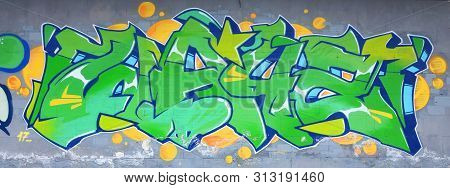 Fragment Of Colored Street Art Graffiti Paintings With Contours And Shading Close Up