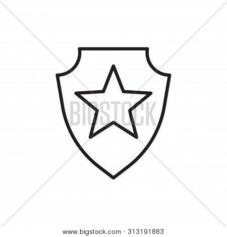 Line Icon Of Honour Shield Vector Illustration
