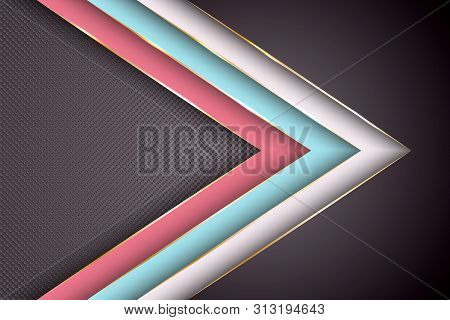 Polygonal Arrow With Gold Triangle Edge Lines Banner Vector Design. Glossy Poster Background Templat