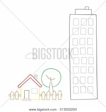 Vector Hand-drawn Illustration Of Detached House With Garden, Tree And Tall Building. Colored Outlin