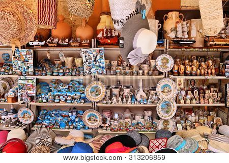 Bari, Italy - May 28, 2017: Souvenir Stall Of Old Town In Bari, Italy. Bari Is The Capital City Of T