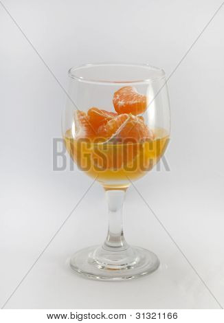 Fruit orange and glass