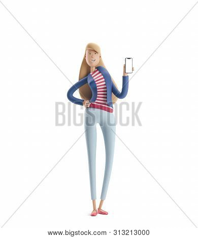 Young Business Woman Emma Standing With Phone On  A White Background. 3d Illustration