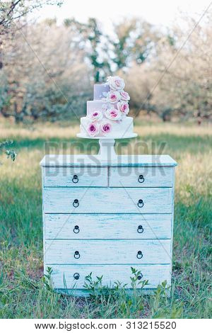 Closeup of a three tiered wedding cake in pastel colors decorated with realistic pink roses on a blurred background of the garden, selective focus poster