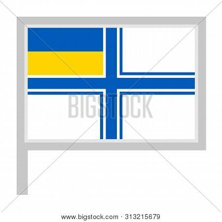 Naval Ensign Of Ukraine Flag On Flagpole Icon, Vector Illustration.