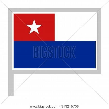 Naval Jack Of Cuba Flag On Flagpole Icon, Vector Illustration.