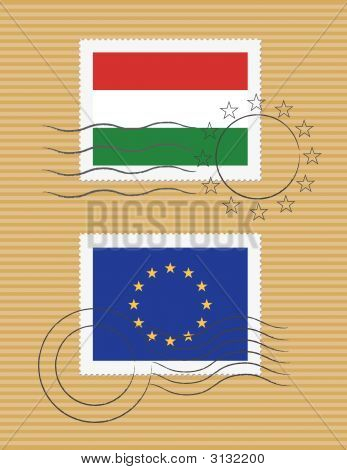 Stamps With Flag Of Hungary And Eu